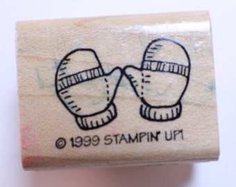 Stampin Up Wooden Rubber Stamp Winter Mittens Gloves