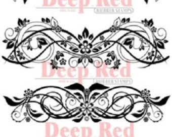 Deep Red Rubber Cling Stamp Vector Flourishes Set