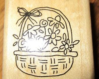 1997 Stampin Up Flower Basket Tisket Tasket Wooden Rubber Stamp