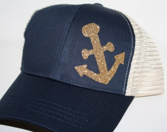 Gold Anchor Trucker Hat - 'Sparkly Anchor' Hat - Organic/ Recycled Material Hat