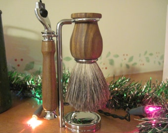Shaving Brush and Gillette Mach 3 Razor Handle, Lignum Vitae Wood Handturned - This wood is known as the Wood of Life