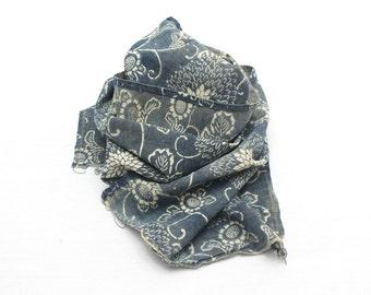Antique Japanese Boro Textile. Handwoven Katazome Cotton. Natural Indigo Folk Fabric  (Ref: 1192E)