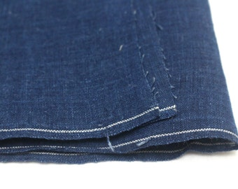 Artisan Aizome Boro Textile. Japanese Indigo Cotton. Dark Blue Vintage Folk Fabric (Ref: 1631)