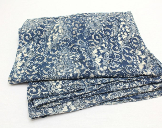 LARGE Antique Japanese Boro Textile. Handwoven Katazome Cotton. Natural Indigo Tablecloth, Throw, Wall Hanging  (Ref: 1132)
