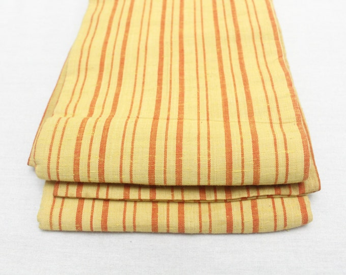 Japanese Casual Obi. Striped Cotton Tsumugi Pongee. Yellow Orange (Ref: 1497)