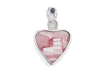 Broken China Jewelry Red White Transferware Castles Sterling Charm