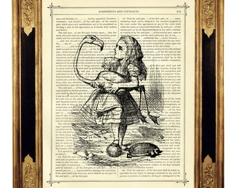 Alice in Wonderland and the Flamingo b&w - Vintage Victorian Book Page Art Print Steampunk