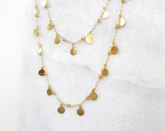 Gold Layered Disc Necklace - Layered and Long, Multistrand Necklace, Gold Disc Necklace, Gold Circle Necklace, Gold Sequin Necklace