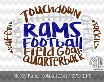 Messy Rams Football design INSTANT DOWNLOAD in dxf/svg/eps for use with programs such as Silhouette Studio and Cricut Design Space
