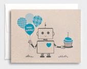 Birthday Card, for Him, Boys - Blue Robot, Happy Birthday Card, Eco-friendly Card