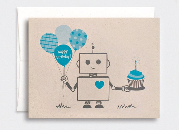 Birthday Card, for Him, Boys - Blue Robot, Happy Birthday Card, Eco-friendly Card