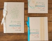 Boho Wedding Program with Kraft Paper/Lace/Script Fonts or Booklet Cover (w/Blank Interior Pages) Customizable Colors, Wording, Fonts
