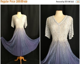 ON SALE Vintage 1980s Together! Dress 80s Hippie Broomstick Sheath Lace Blue White Dress Size 10 M Medium Bust 40 Spiegel