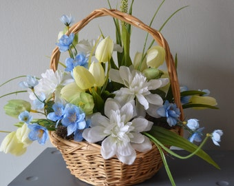 BASKET ARRANGEMENT Blue White and Pale Yellow Spring Floral Natural Basket