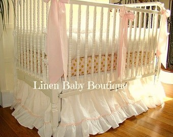 Pink and Gold Crib Set. 5 Pieces. Pom Pom Skirt, Bumpers, Blanket, Bows and Crib Sheet. Fast Shipping!!