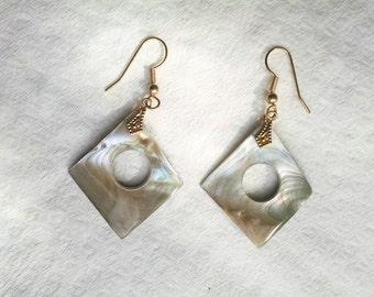Earrings Mother of Pearl Rainbow Colors Diamond Shaped Avante Garde Earwires Vintage Jewelry Jewellery Accessories Gift Guide Women