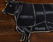 Rustic Cow Butcher Shop Sign Beef Meat Chart Butcher Diagram Meat Cuts Kitchen Wall Art