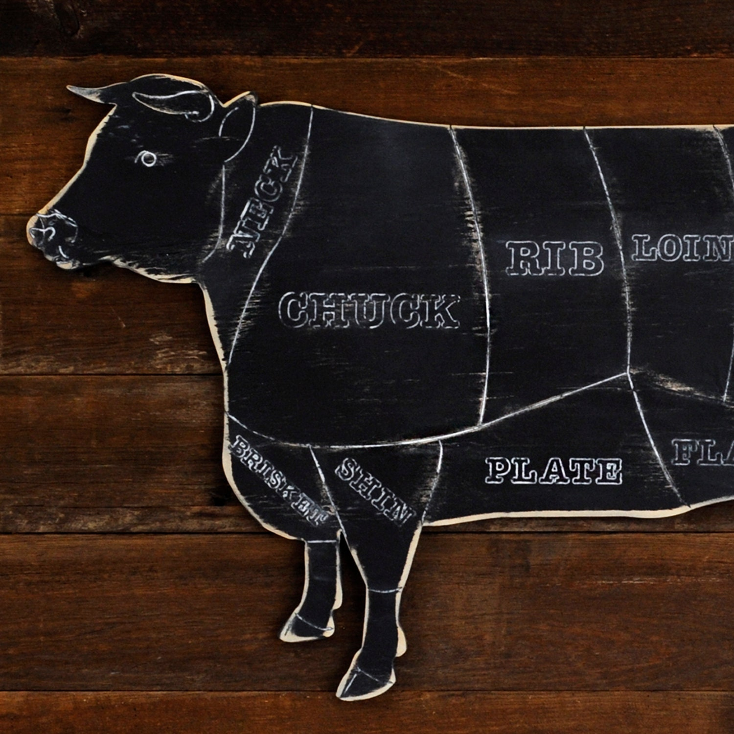 Rustic Cow Butcher Shop Sign Beef Meat Chart Butcher Diagram