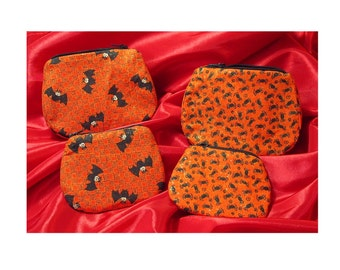 large or small zippered purse orange sparkle with bats or spiders halloween purse UK seller