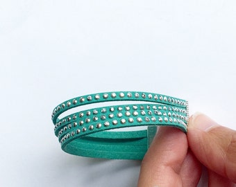 turquoise bracelet. faux suede with silver studs. single wrap bracelet. boho jewelry. magnet or lobster clasp.