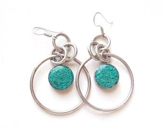 Vintage Silver Tone Earrings Mexico Alpaca Rings & Large Hoops w/ Stone Chips in Blue Resin Disks Black Reverse Sides Modern + Bright Look