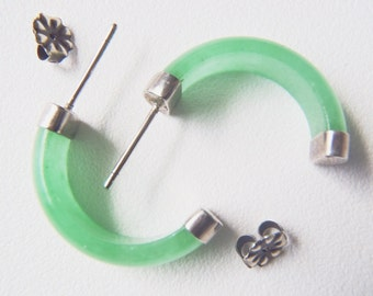 Vintage Silver Tone and Green Stone Earrings: Capped Bright Green Carved Stone Half Hoops with Ear Posts—Casual to Elegant in One Design