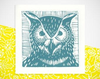 Teal owl greetings card. Blank card.