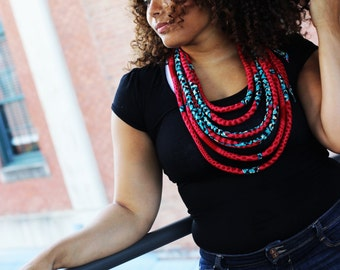 African Necklace, African Print Multistrand Necklace, African Wax Necklace, African Jewelry, Ankara Necklace, Rope Necklace, African Jewelry