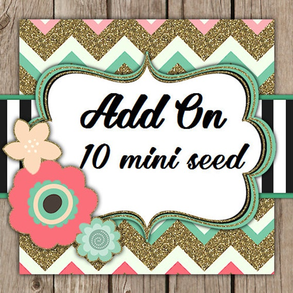 Add on Pack - 10 additional MINI Flower Seed Favors SALE CIJ Christmas in July
