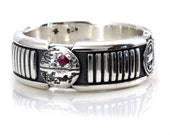 Death Star Lightsaber Ring with Ruby - Sterling Silver Mens Geek Engagement Ring