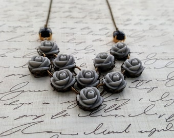 Boho Necklace - Long Statement Necklace - Grey Necklace - Chevron Necklace - Black Necklace - Bridesmaid Necklace - Aztec Necklace