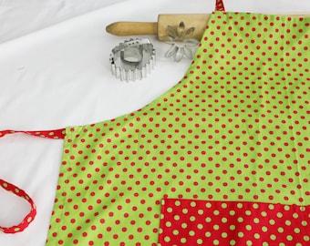 Christmas Dots Adult Apron - green