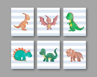 Watercolor Dinosaur Art for kids // Dinosaur Decor // Dinosaur Nursery decor // Dino Wall Art // Art for Toddlers  // PRINTS ONLY UNFRAMED