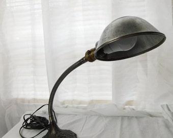 Antique Art Deco Metal Gooseneck S Robert Schwartz Table Light Lamp