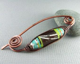 Shawl Pin Copper Wire Wrapped Jewelry Copper Pin Paper Bead Fibula Copper Brooch Wire Shawl Pin