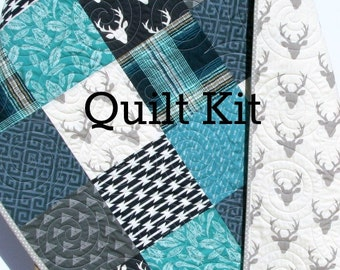 Quilt Kit, Woodland Boy Rustic Navy Blue Teal Grey Gray, Buck Forest Night, Birch Organic Fabrics, Crib Bedding, Quilting Sewing Boy Toddler