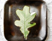 Oak Leaf Ring dish, Valentines Day Gift, Spoon Rest, Soap Dish, Bronze Aqua, square ring bowl, botanical, nut bowl, leaf bowl, ring holder