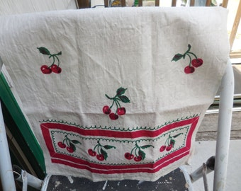 Vintage Star-Tex White Linen Kitchen Towel/Tea Towel With Red Cherries Cherry Fruit NOS Green Leaves 1950s