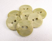 "Chisled Texture: 5/8"" (16mm) Light Pea Green Buttons - Set of 7 Vintage New Old Stock Buttons"
