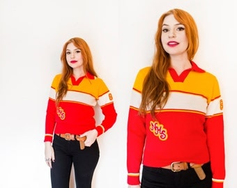 Vintage 1980s Sweater - Wool Knit Cheer Pullover Fitted Varsity Letterman 80s - Small