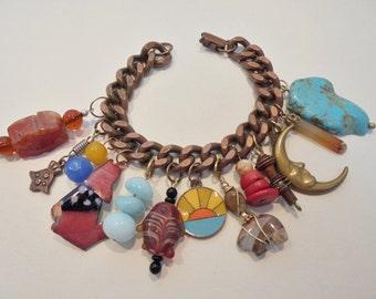 Vintage Copper Charm Bracelet Turquoise Coral Gemstones Enamel Solid Copper Curb Link Boho Country Western Retro