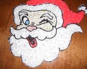 Vintage Christmas SANTA CLAUS Melted Plastic Popcorn Winking Eye FACE
