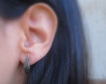 Sterling silver and 14K solid gold Leaf earrings, Post earrings, Leaf earrings for her, one of a kind