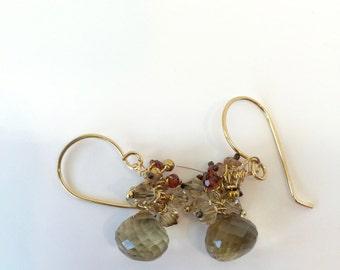 Lemon Quartz Dangle Earrings Sunstone, Garnet, Citrine, Gorgeous, Gold Earrings, Lilyb444
