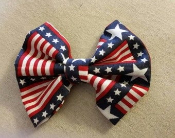 Red White and Blue Patriotic  Flag Hair Bow