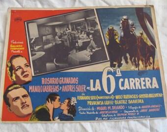 Vintage Spanish Mexican Movie Lobby Card Poster - La 6 Carrera