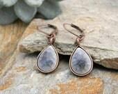 Dangle earrings copper and purple teardrop earrings simple minimal earrings everyday jewelry