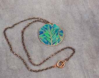 Etched Copper Necklace Green Leaves Necklace Botanical Jewelry Green and Blue Copper Pendant.