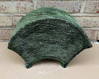 Vintage 1980's Ceramic Art Studio Pottery Green and Black Abstract Sculpture from Brooks Collection