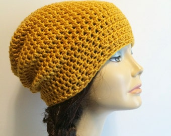 Slouchy Beanie Mustard Hat - Crochet Slouch Beanie Womens Beanie Hipster Hat - Mustard Vegan Beanie - Fall Apparel - Vegan Hat